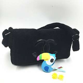 Instock! CHANEL Fur Flap Cover Crossbody Messenger Bag (Black with Black Logo) PO111700203 *GWP* + FREE Post!