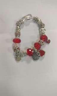 仿Pandora 紅水晶珠手鍊