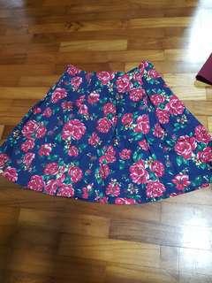 Navy roses Skirt