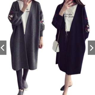 Womens Long Sleeve Knitted Cardigan Loose Embroidery Outwear Coat Jacket Sweater