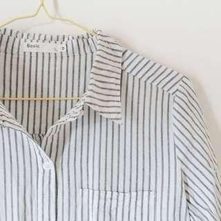 🚚 50% 寬鬆條紋單口袋襯衫 #畢業兩百元出清