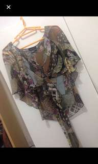 BCBG printed silk patchwork butterfly sleeve top at less than 20% of Retail price