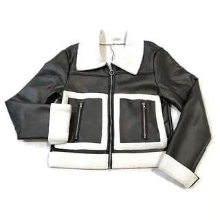 Autumn Winter Faux Leather Biker Jacket Inner Fur