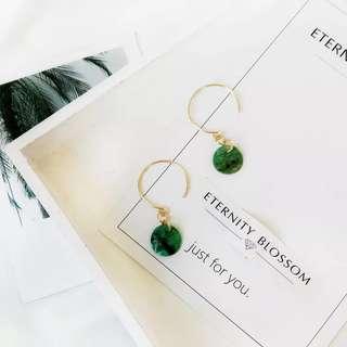 🚚 \預購/ 極簡系列草木綠耳環