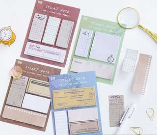 Vintage Work Papers Sticky Note Set