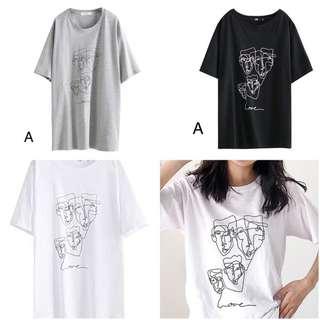 🚚 [女子更衣間] 金色字母抽象塗鴉童趣印花寬鬆上衣T恤