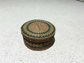 old cute basket weaved trinket container