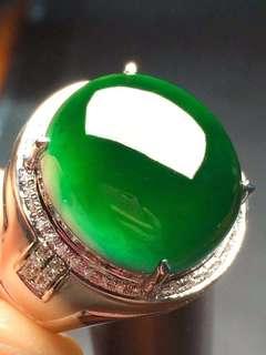 GZ-38大個!滿鑽鑲墨翠男款戒指,自然光烏黑髮亮 打燈全透 霸氣秒¥18800 完美無瑕 性價比高  超值可要!