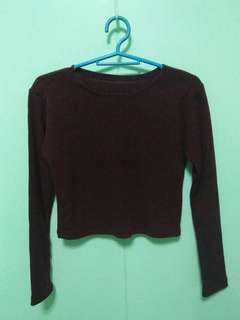Knitted Long Sleeve Crop-top