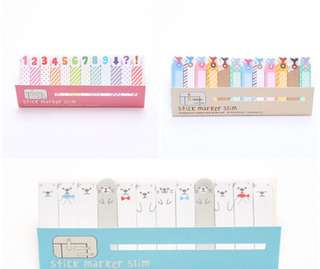 180 Sheets Cute Seal & Colourful number Tag Slim Marker Sticky Note