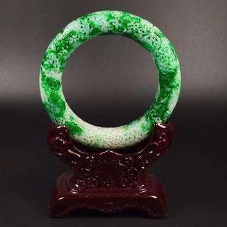 GZ-38冰糯辣綠雕花復古花紋圓條手鐲,完美度達95%以上,超值撿漏價,