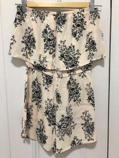 Cream playsuit with black print flowers floral classy size xs 6