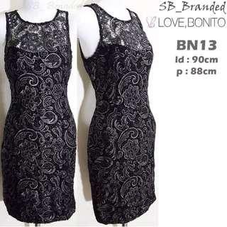 Dress pesta black sleeveless love bonditop