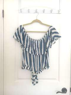 AEO Blue & White Striped Off the Shoulder Top
