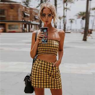 Yellow checkered tube top + skirt set
