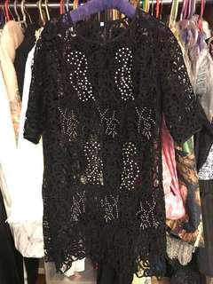 🈹黑色日本水溶厘士 長身上衣連身裙 black lace long top or dress