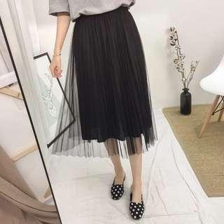 百摺寬鬆紗裙