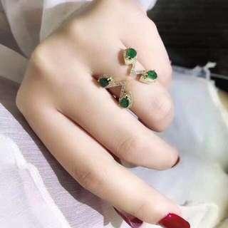 18k祖母綠1.46ct鑽石0.36ct戒指