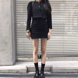 INSTOCKS Preppy 2 piece skirt set - black