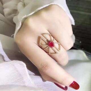 18k紅寶石0.65ct鑽石0.39ct戒指