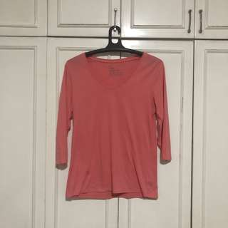 Giordano Pink 3/4 Sleeve Blouse