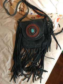 🈹人手製造 藍色寶石皮革流蘇手袋 真皮 型 stylish leather bag with crystal