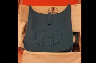 Hermes Evelyn 29cm blue Zanzibar stamp A