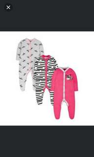 3 pieces Mothercare sleepsuit