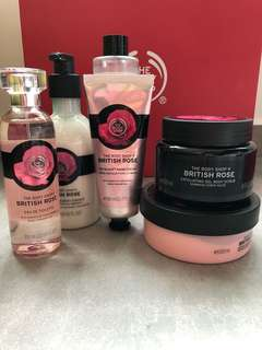 🚚 The body shop British rose hand cream, eau de toilette, instant glow body essence, bath foam, body butter, body scrub