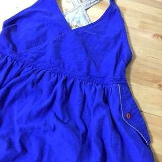 🚚 日本品牌棉麻綻藍吊帶連身裙長裙