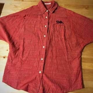 🚚 日本品牌moussy紅色寛版襯衫上衣外搭