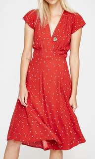 Rollas Midi Dancer Wrap Dress Red Hearts