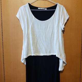 日牌SLY假兩件式黑白長版衣/裙子