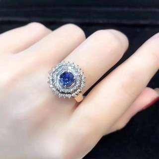 18k藍寶石0.94ct鑽石0.62ct戒指