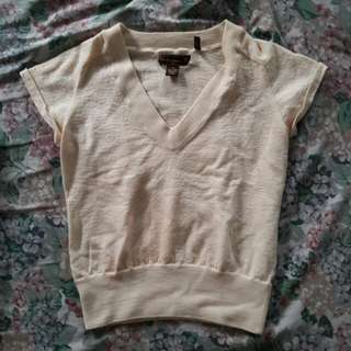 Tommy Bahama V-Neck Cream Top