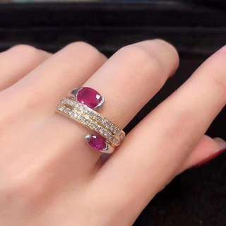 18k紅寶石1.06ct鑽石0.76ct戒指