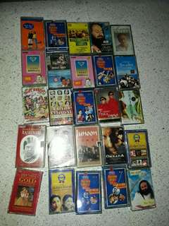 set of 25 vintage Indian songs music cassettes