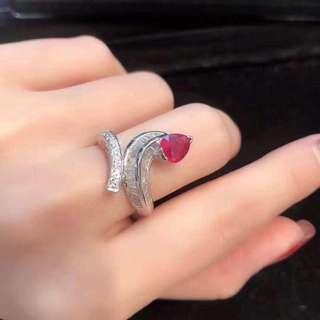 18k紅寶石1.205ct鑽石1.30ct戒指