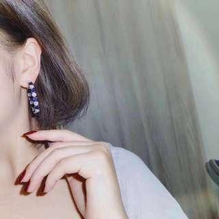 18k藍寶石4.07ct鑽石2.83ct耳圈