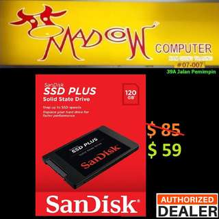 "SanDisk SSD PLUS 120GB 2.5"" Sata III....Up to 20X faster than HDD. ( Hurry Grab it Tonite while Stock last...)"
