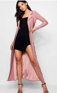 Light pink boohoo duster coat