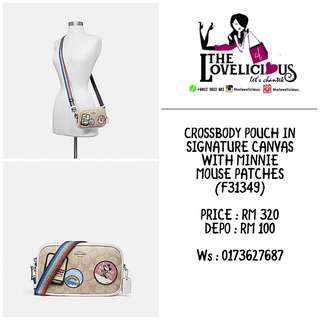 CROSSBODY POUCH IN SIGNATURE CANVAS WITH MINNIE MOUSE PATCHES COACH F31349
