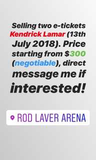 Ticket / tiket Kendrick Lamar live in melbourne
