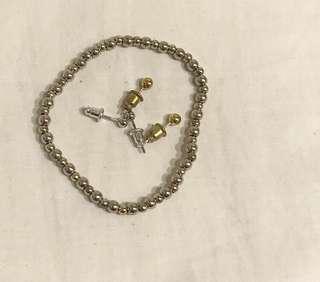 珠珠 銀金手鍊 美國購入 一組 耳環