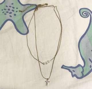 珍珠 十字架 項鍊 超美 超有氣質 一長一短 也可分開帶!美國購入