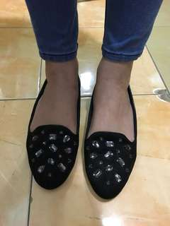 Jeweled Suede Loafers