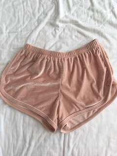 Brandy Melville Pink Velvet Shorts