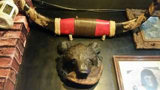 Vintage buffalo horn with dragon carvings