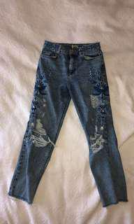 TOP SHOP embroidered jeans