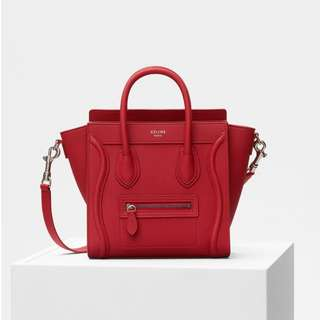 CELINE LUGGAGE NANO BAG 紅色